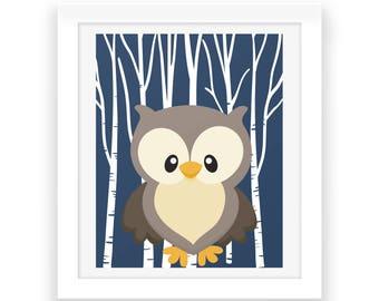 Woodland Animal Owl Wall Art - Digital Print - Nursery Decor - Baby Print - Instant Download - Forest Animal - Nursery Wall Art - Baby Decor