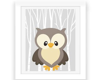 Woodland Nursery Download - Owl Printable - Digital Print - Woodland Animals Nursery Decor - Baby Print - Nursery Wall Art - Baby Room Print
