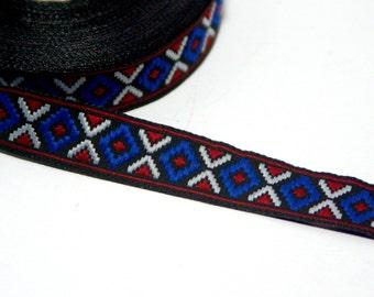 "Tribal Pattern Ribbon: ""AZTEC TRIBAL RIBBON"" Craft supplies , Ethnic ribbon , Boho ribbon , vintage ribbon trim T90"
