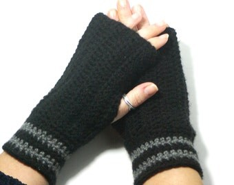 "50% OFF Crochet Gloves: ""BLACK GLOVES"" Fingerless Black mittens, Hand Warmers Hand Knit Mittens, Ladies Winter Mittens Winter accessory A178"