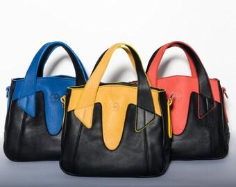 Handbag, Leather handbag, Handmade bag, Handmade handbag, Made in France, Designer bag, Gift idea, Original bag