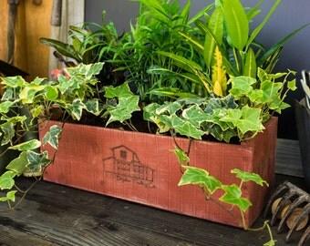 """Indoor Herb Garden Kit - Barn Door Red - Wedding & Housewarming Gift Box - 20"""" x 6"""" x 6"""""""