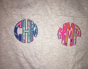 Lilly Pulitzer MYSTERY TEE Monogram Comfort Colors T-shirt Embroidered