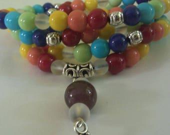 MALA 108 Beads  CHAKRAS  OM Symbol Mala Meditation
