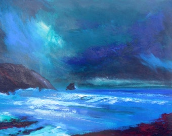 modern seascape wall art modern decor blues, aqua marines, blues indigo grey umbers and whites