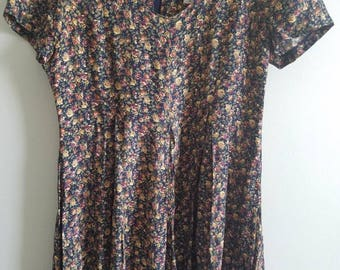90s Floral Romper / scoop back / scoop neck / zipper / festival / grunge / medium / womens / sz 7/8