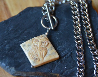 Thick Stainless Steel Chain with Bone Owl Pendant
