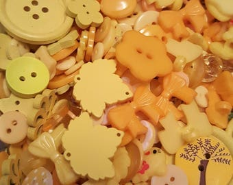 50g Button mix, Buttons, Craft buttons, Sewing buttons, Assorted buttons, Mixed buttons, Bulk buttons, Scrapbooking buttons, Yellow