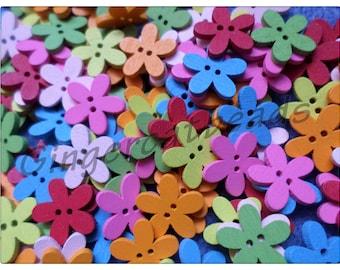 15mm wooden flower buttons, wooden buttons, flower buttons, buttons, craft buttons, sewing buttons, scrapbooking, flowers, floral,