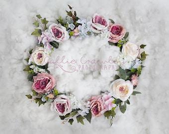 Digital Background flower wreath