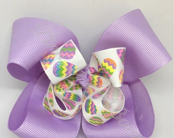 Easter bow, purple bow, Easter Egg bow, Spring Bow, Girl bow, Boutique Bow, spring bow