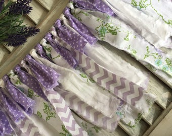 Fabric Garland, Nursery Garland, Shabby Chic Decor, Nursery Decor, Purple Nursery