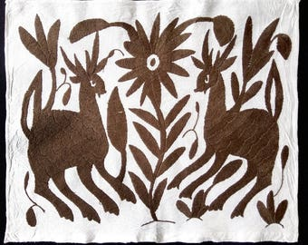 Beautiful Otomi embroidery from Mexico. Mexican textile. Mexican folk art