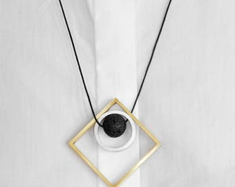 Brass, aluminium and Vesuvio's Lava stone handmade Necklaces