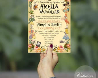 Alice in Wonderland Printable Birthday Invitations, Digital Invitations, Birthday Invitations