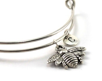 FLY bangle, silver fly bracelet, insect charm, initial bracelet, adjustable bangle, personalized jewelry, swarovski birthstone, gift