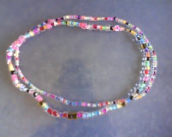 LoliRosa Set of 2 Pretty Mix Glass Seed Bead Stretch Anklets