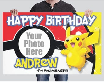 BANNER - Pikachu Birthday Banner - Pokemon Party