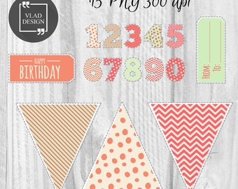 15 Happy Birthday Elements Birthday Clipart Digital Birthday Elements Cute birthday graphics Counts clipart Flags Banners Tags