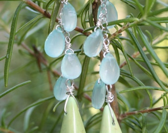 Blue Chalcedony and Green Howlite drop earrings