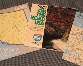 1980's  United States Road Maps ~ Reader's Digest ~ Drive America ~ Pleasures and Treasures to Enjoy~ Vintage Collectibles