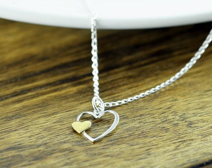 Sterling Silver Heart Necklace - Open Heart Necklace - Heart Charm - Heart Jewelry - Dainty Silver Necklace