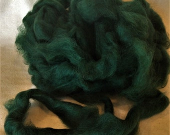 100% Mohair Roving Hand Dyed in Dark Green