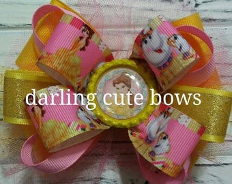 Belle hairbow beauty and the beast haibow princess hairbow