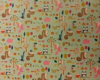 Woodland Family - Blue - Fabric Cotton/Linen Material By Metre  Vintage Look Patchwork Cushions PERFECT FOR BAGS Bunting