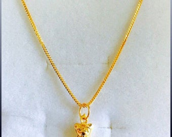 Solid 22k gold 916 gold baby bear pendant with foxtail chain necklace set