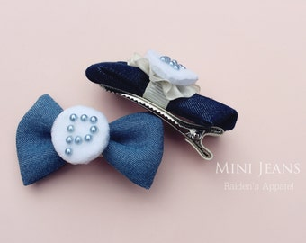 Toddler/girl Initial Mini Jeans-bow-hair clip