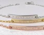 Latitude Longitude Bracelet in Gold, Silver or Rose Gold with Custom Coordinates