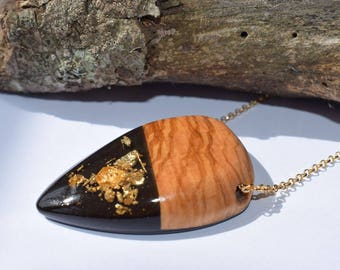 Wood Resin Pendant, Made in Italy, Handmade Necklace, B.Black n.3, Unique piece, Wood resin jewelry, Handmade Jewelry