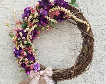 Large Spring Floral Wreath