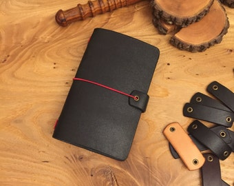 Midori Travelers Notebook, Field Notes Leather Cover: Black
