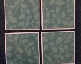 Teal Leaf Pattern Coasters