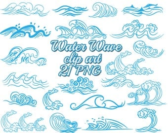 Blue Wave Clip Art WATER WAVE CLIPART Nautical ArtWave Illustrations