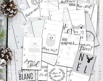 Whole Kit of 25 Christmas gift tags, name tag, gift tag, identification, french, black and white, to color, printed on cardboard