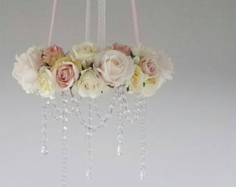 Floral Crib Chandelier with Crystal Droplets