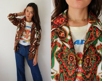 Vintage 1960s/70s Retro Paisley Print Button Down Blouse/Jacket