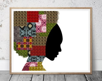 Black Woman Art, Tribal Art, African Art, Wall Art Print, African American Art, Black Woman Printable Art, Ethnic Printable Art