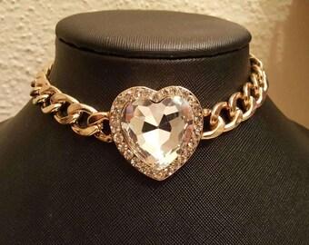 Glam Rhinestone heart choker