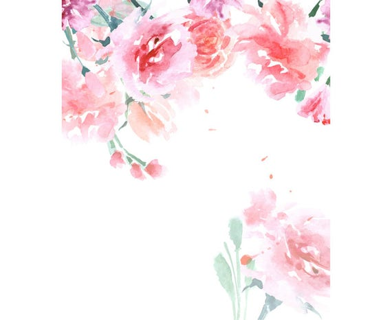 Watercolour rose flower frame border digital download png - High resolution watercolor flowers ...