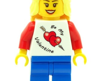 Custom Design Minifigure - Girl Female With Be My Valentine T-shirt (Jumper) Printed On LEGO Parts
