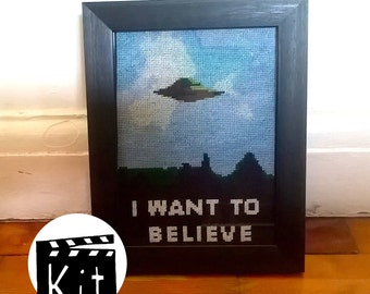 X-FILES - I want to believe - cross stitch kit - easy for beginners