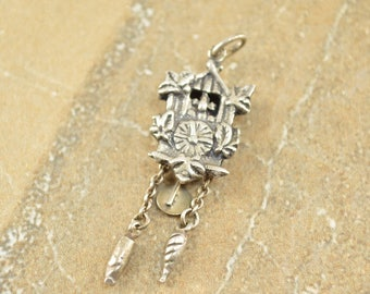 3D Vintage Style Cuckoo Clock Charm / Pendant Sterling Silver 3g