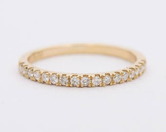 Diamond 18K Gold 0.17ct Micro Pave Wedding Band Ring Half Eternity AD1192
