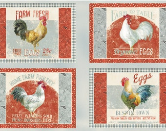 Wilmington Prints EARLY TO RISE Rooster Farm Placemats Cotton Fabric