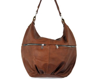 COGNAC BROWN LEATHER, Spring sale -30%,  Leather Hobo bag, hobo bags, hobo bag,  Brown leather hobo, leather hobo bags, Everyday Leather Bag