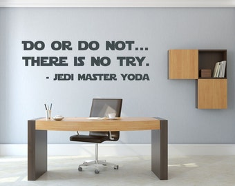 Yoda Do Or Do Not Wall Sticker Star Wars Quote Vinyl Decal  Stencil Gift